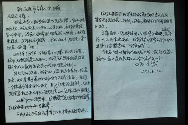 "Liu Xia, ""Open Letter to Xi Jinping,"" June 14, 2013."
