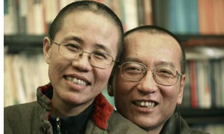 Liu Xiaobo and Liu Xia in an undated photo released by his family.
