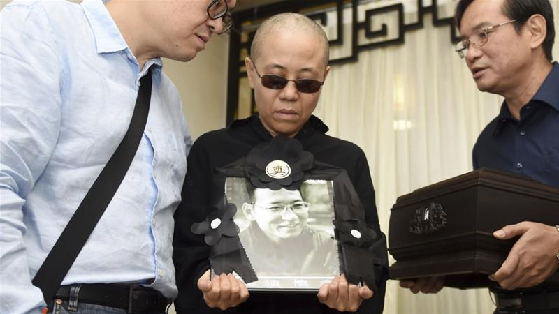 Liu Xia at funeral for Liu Xiaobo, July 15, 2017 (official_photo)