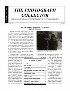 The Photograph Collector, January 2011, cover.
