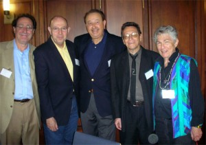 L-r: Richard Barr, Lewis Taishoff, Brian Sharoff, Allan Coleman, Blanche Wiesen Cook.