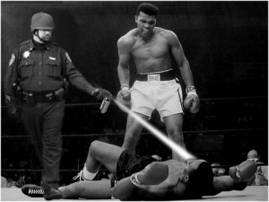 """Lt. John Pike in Donald L. Robinson's """"Ali Defeats Liston,"""" May 25, 1965. Anonymous photocollage."""