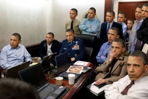 Parodic photomontage, White House Situation Room, assassination of Osama Bin Laden. Anonymous