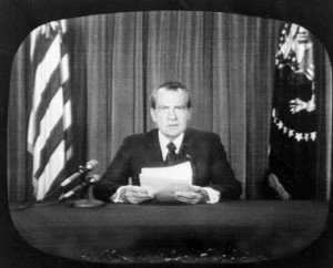 Richard Nixon resigns the presidency of the United States on national TV in the wake of the Watergate scandals, August 9, 1974.