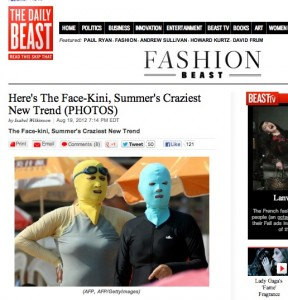 "Chinese ""Pussy Riot"" supporters in ""face-kinis."" Screenshot from The Daily Beast, 8-21-12."