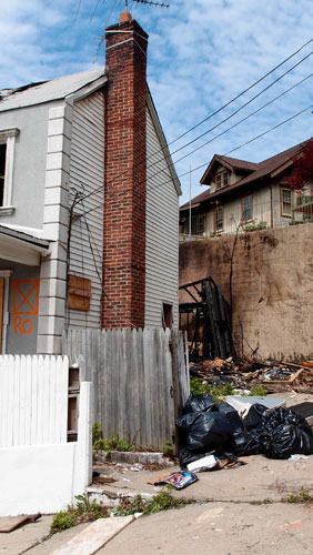 Fire aftermath, 16 Grove St., Staten Island, 5-3-12. Photo © copyright by A. D. Coleman.