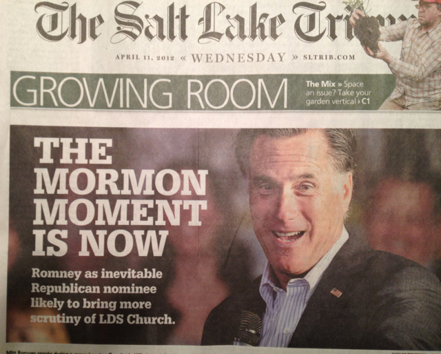 """The Mormon Moment,"" Salt Lake Tribune front page, April 11, 2012."