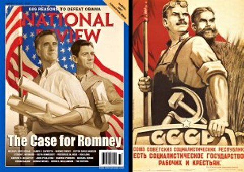National Review Romney-Ryan cover, 9-10-12, with Stalinist propaganda poster.
