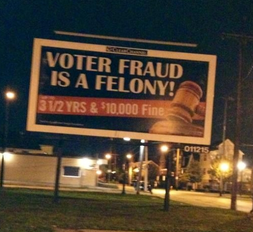 Voter Fraud sign, Cleveland (OH) 2012. Courtesy Cleveland City Councilwoman Phyllis Cleveland.