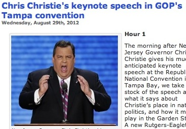 New Jersey Governor Chris Christie, RNC Keynote, WHYY Screenshot, 2012-08-30.