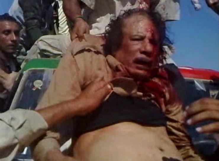 Anonymous, Muammar Gaddafi, Sirte, Libya, 20-10-11, still from video.