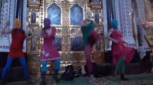 Pussy Riot performance, Russian Orthodox Church, Moscow, 2-21/12. Still from YouTube video.