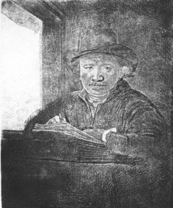 "Rembrandt ""Self Portrait, Drawing at a Window,"" 1648, fifth and final state."