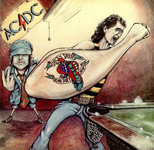 AC/DC, Dirty Deeds Done Dirt Cheap (1976), cover.