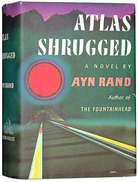 Atlas Shrugged, by Ayn Rand, first edition (1957), cover,
