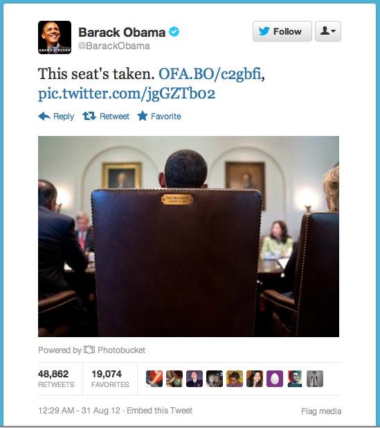 Barack Obama tweet, 8-31-12.