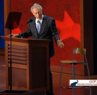 Clint Eastwood with chair, RNC, 8-30-12, screenshot.