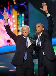 Barack Obama and Joe Biden, DNC, September 6, 2012. Photograph by Scout Tufankjian for Obama for America.