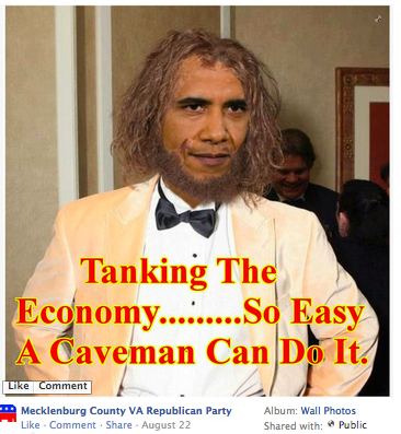 Obama as caveman, caricature