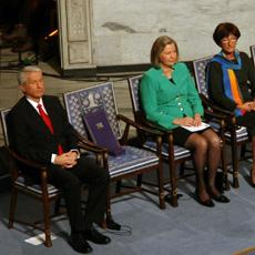 Empty chair at Nobel Peace Prize ceremony, 12-10-10. Photo by  Wang Nan for Voice of America.