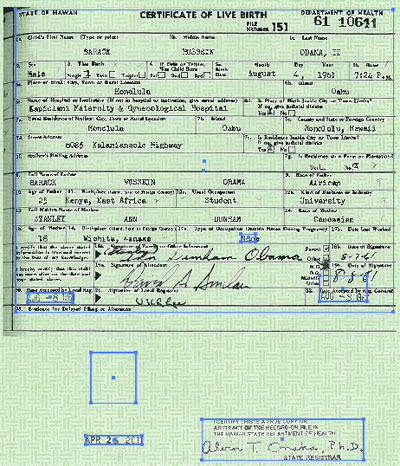 Barack Obama birth certificate with purported alterations, Infowars.com, April 28, 2011.