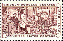 US Postage, 1958 issue, commemorating the Lincoln and Douglas debates.