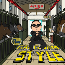 "Psy, ""Gangnam Style"" single (2012), official cover."