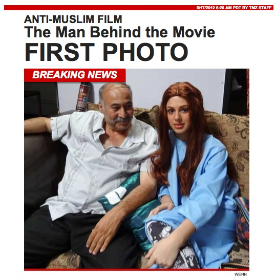 "First published photo of Nakoula Basseley Nakoula, seen on the set of ""Innocence of Muslims"" with Anna Gurji, one of the actresses in the film. Screenshot from TMZ.com."