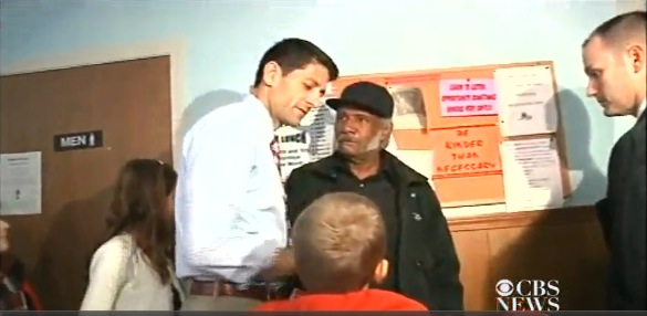 Paul Ryan, soup kitchen photo-op, 10-13-12, screenshot.