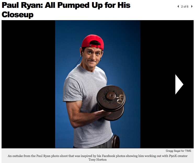 Paul Ryan pumping iron, December 2011. Photo by Gregg Segal. Screenshot 10-20-12.