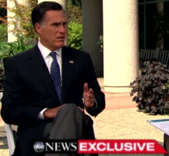 Mitt Romney, ABC News interview with George Stephanopoulos, 9-14-12, screen shot.