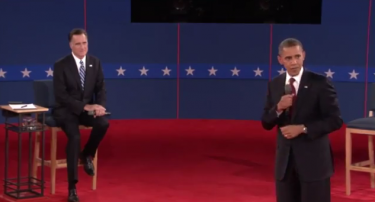 Second Presidential Debate, Hofstra Univ., 10-16-12, screenshot.