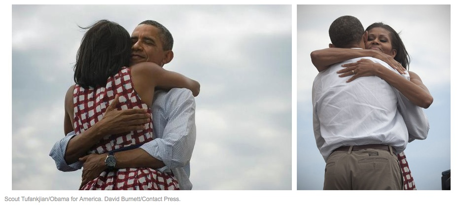 Photos of Barack and Michelle Obama hugging, by Scout Tufankjian (l) and David Burnett (r), August 2012, screenshot from Slate.