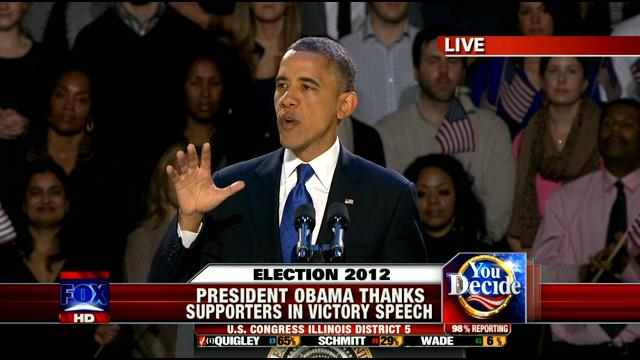 Pres. Barack Obama, victory speech, Chicago, 11-7-12, Fox news screenshot.