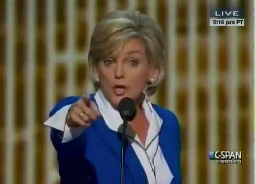 Former Gov. Jennifer Granholm, Democratic National Convention, 9-6-12, C-Span, screenshot.