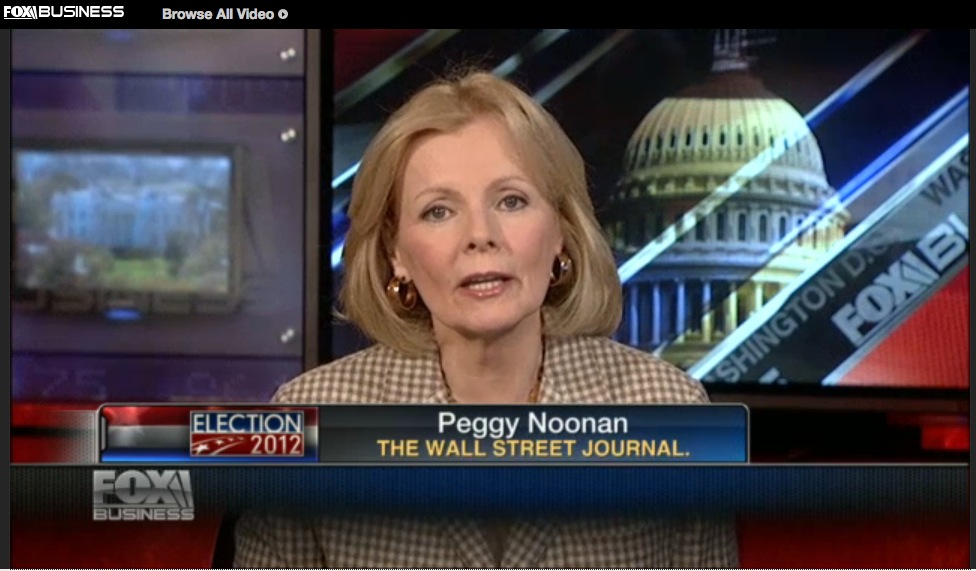 "Peggy Noonan making a fool of herself, ""Varney & Co.,"" Fox News, 11-6-12, screenshot."