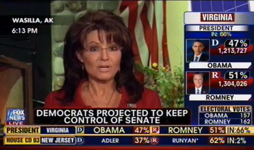 Sarah Palin talking trash, Fox News, 11-6-12, screenshot.