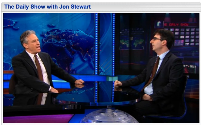 Jon Stewart and John Oliver, Daily Show, 11-8-12, screenshot.