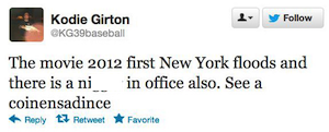 Election 2012 tweet from Kodie Girton, 11-6-12.