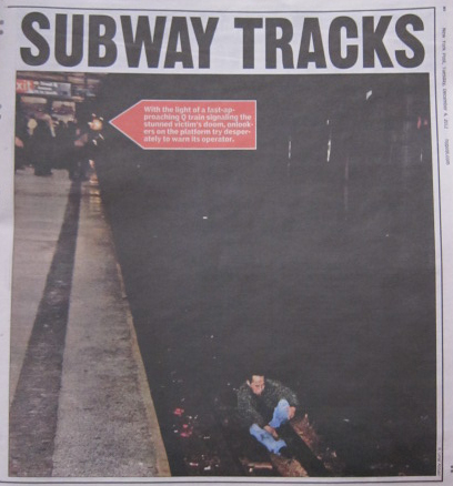 Abbasi Photograph #2: Han on the tracks after being pushed. Note train lights in the distance. (Credit: Photo from NY Post, print version. Subway photo by R. Umar Abbasi.)