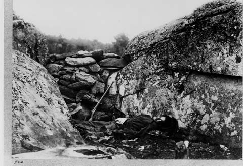 "Alexander Gardner, ""Home of a Rebel Sharpshooter,"" Gettysburg, 1863."