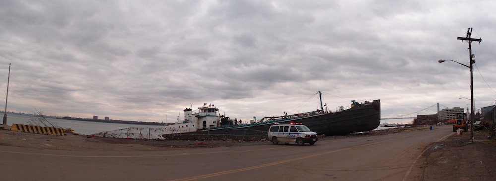 Beached tanker, North Shore, Staten Island, 10-31-12. Photo © copyright 2012 by A. D. Coleman.