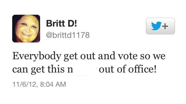"Election 2012 tweet from ""Britt D,"" 11-6-12."