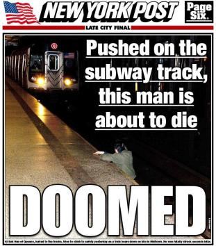New York Post cover, subway death, 12-4-12. Photograph by R. Umar Abbasi.