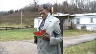 """Obama with Watermelon,"" installation by Danny Hafley of Casey County, KY, 2012. Screenshot."