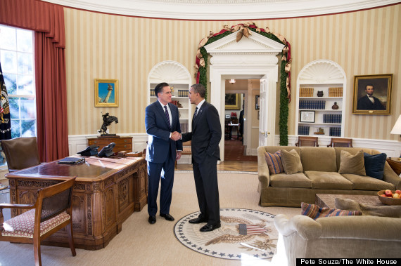Barack Obama with Mitt Romney, Oval Office, 11-29-12. Official White House photo by Pete Souza.