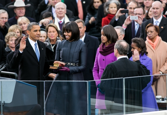 Supreme Court Chief Justice John Roberts administers the oath of office to President Barack Obama during the Inaugural swearing-in ceremony at the U.S. Capitol in Washington, D.C., Jan. 21, 2013. (Official White House Photo by Sonya N. Hebert)