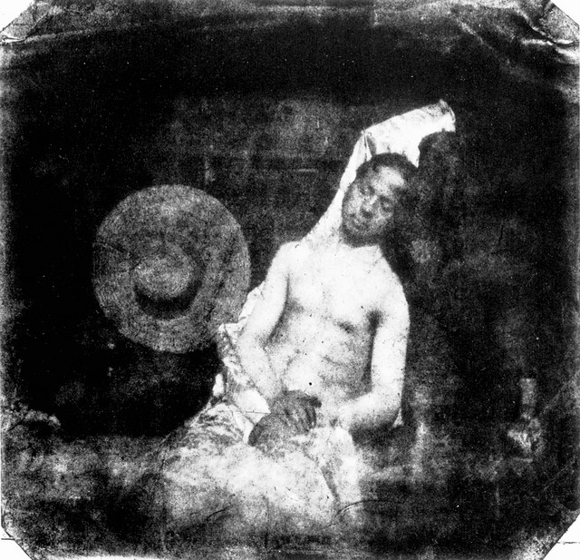 "Hippolyte Bayard, ""Le Noyé (Self-portrait as a drowned man),"" October 18, 1840."