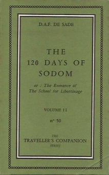 "Olympia Press, Marquis de Sade, ""120 Days of Sodom"" (1957)."