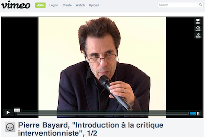 Pierre Bayard, Vimeo, screenshot, 2013-03-25.